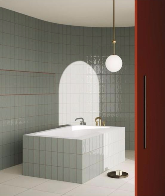 bathroom with square bath