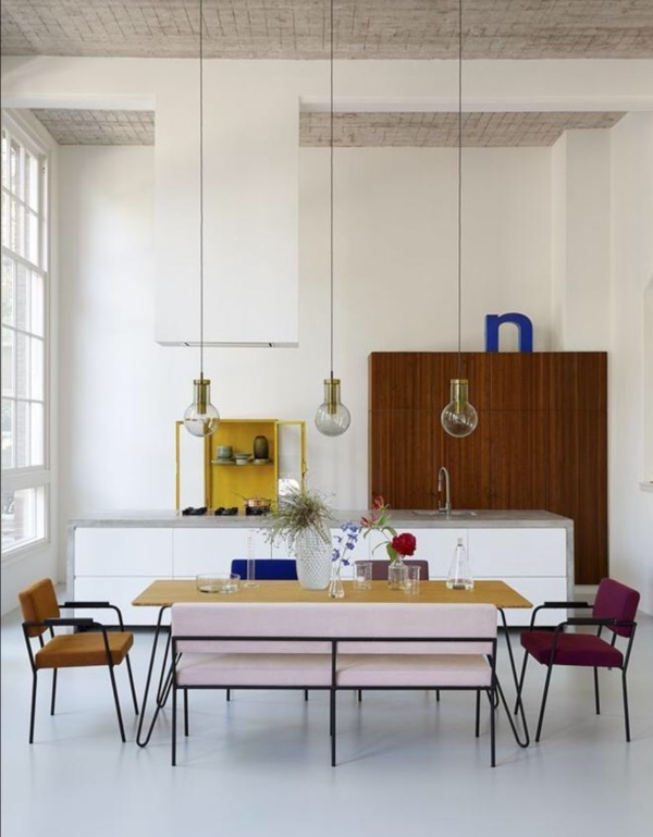 dining table with pink bench