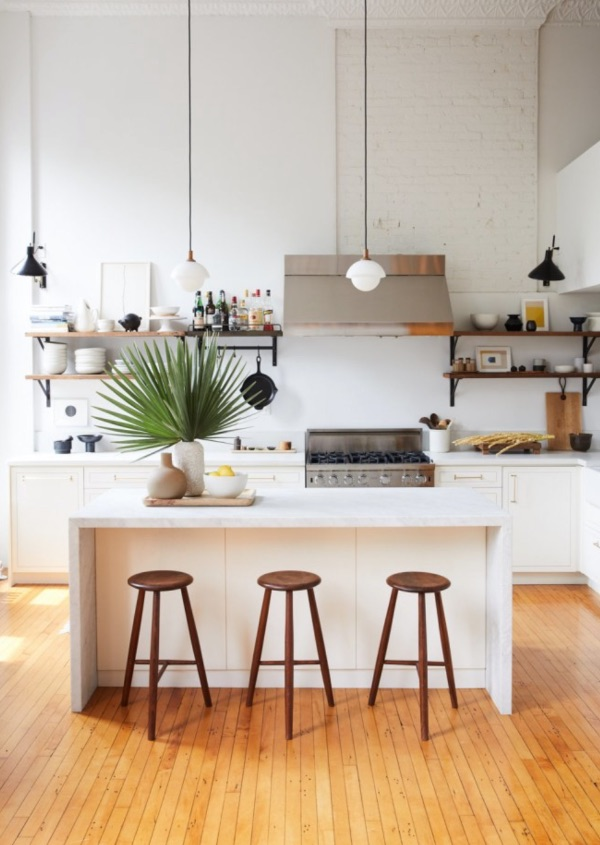 kitchen with 3 stools