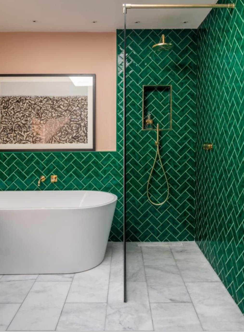 bathroom with green tiles