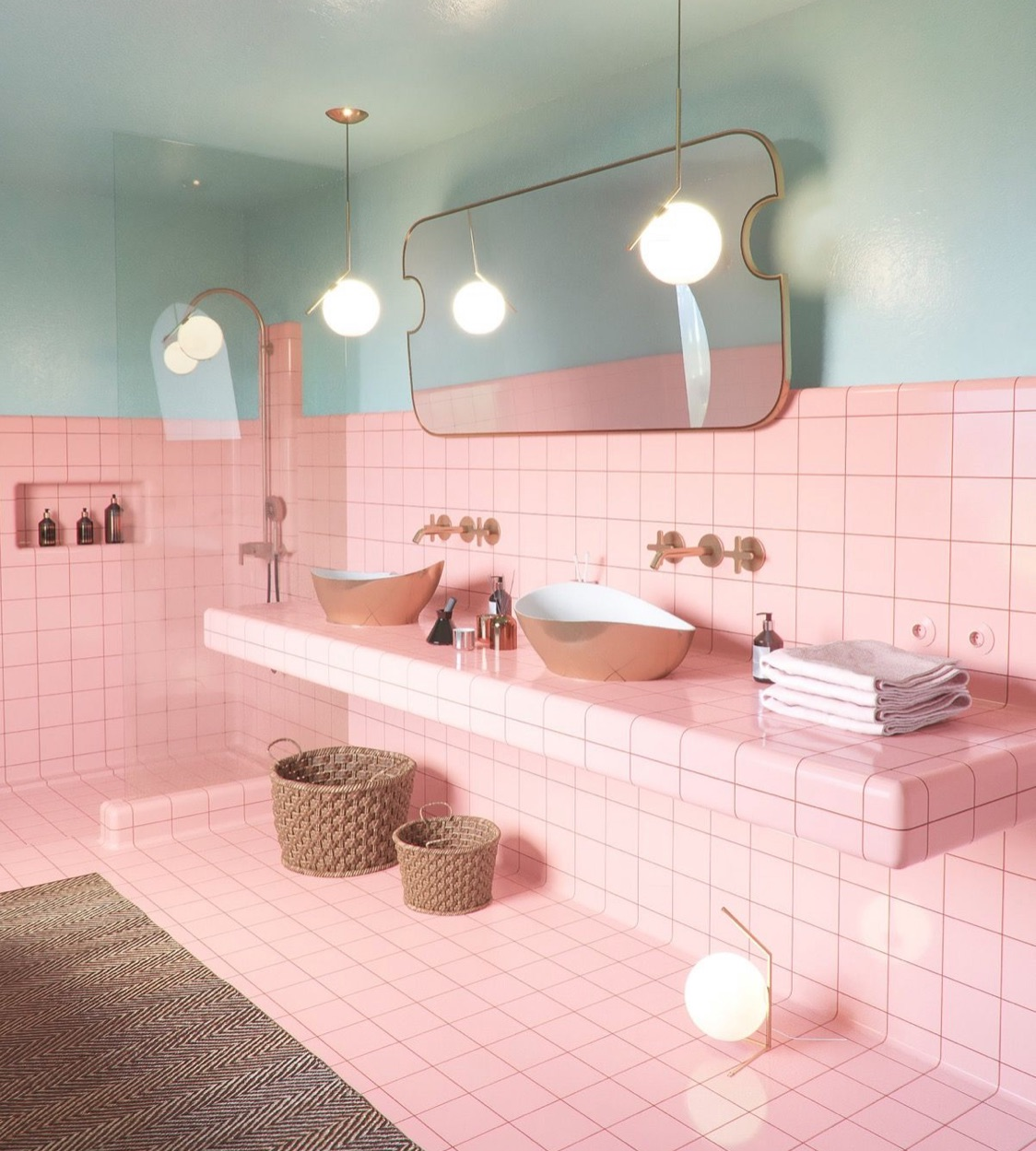 bathroom with pink tiles