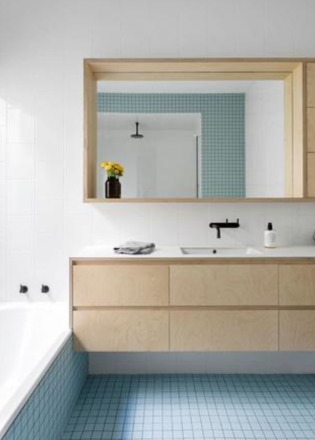 bathroom with wooden units