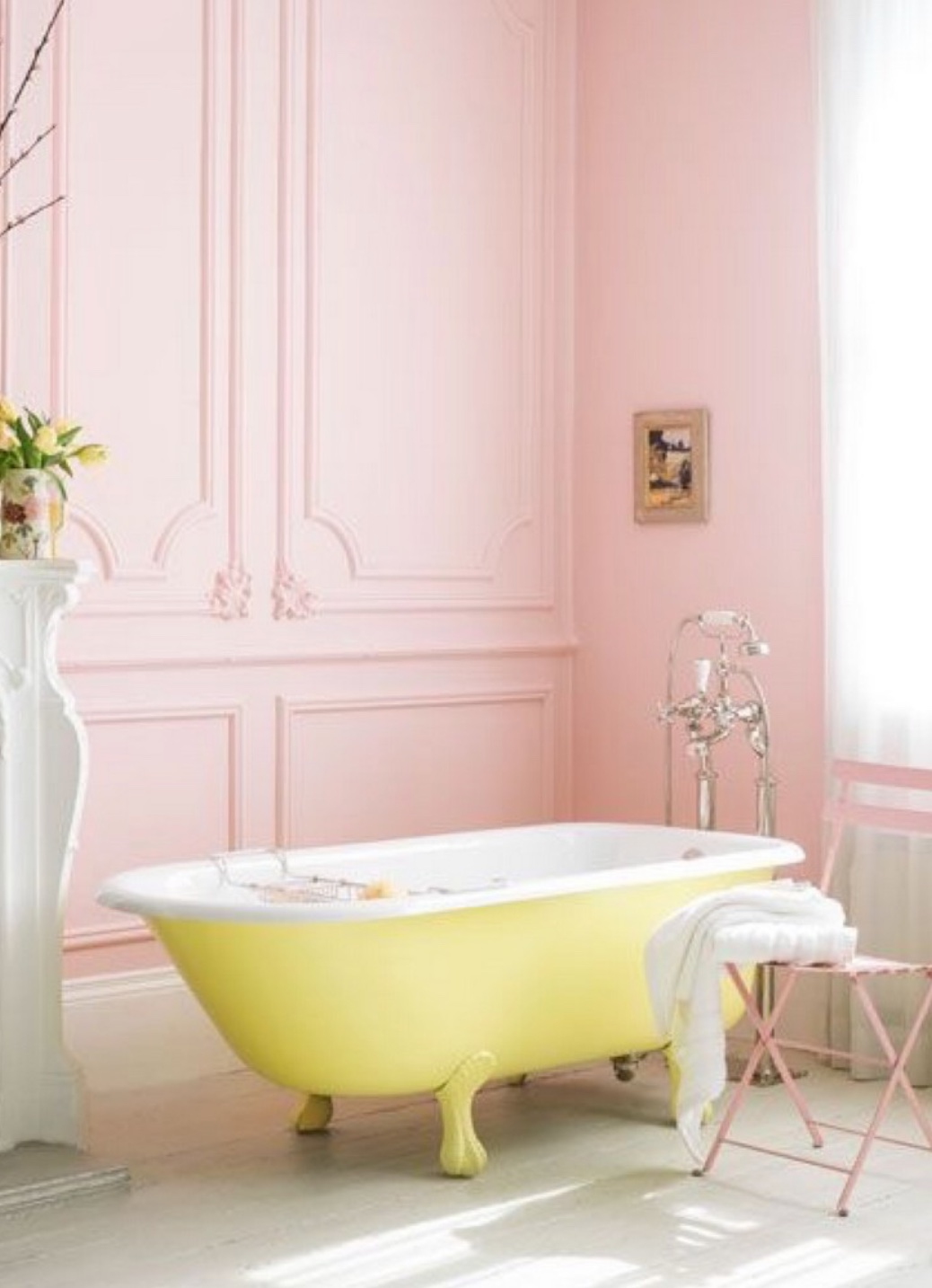 bathroom with yellow bath