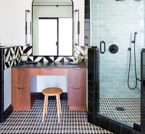 stylish bathroom with pattern tiles