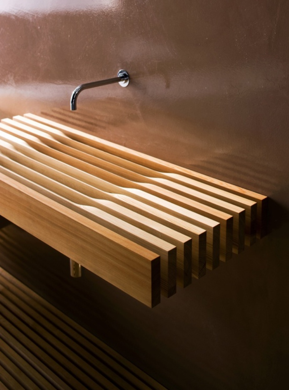 wooden slotted bathroom sink